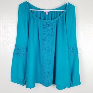Lilly Pulitzer turquoise blue boat neckline top